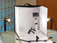 Foto studio box inkl 2 fotolampen und stativ auto media for Foto lampen
